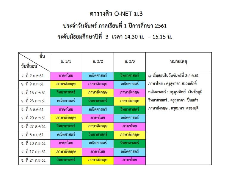 ตารางติว O-NET ม.3